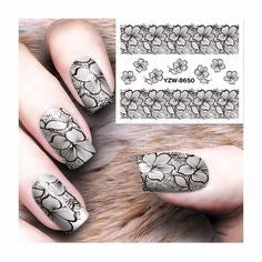Floral Water Decals Nail Design