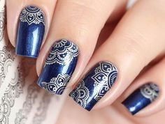 Sliver Lace Water Decals Nail Design