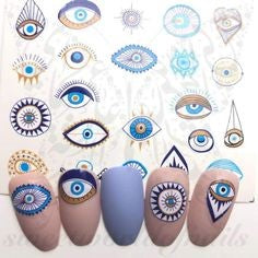Eye Water Decals Nail Design