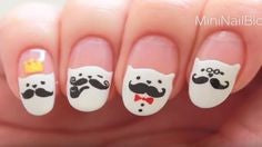 How to Make Cartoon Mustache Cat nails-cute Nail Design Tutorial