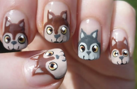 Squirrel Wolves Nail Art