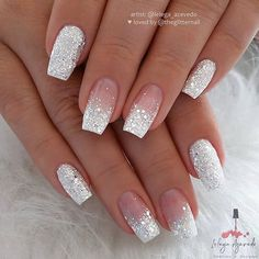 White Glitter Square Nail Design