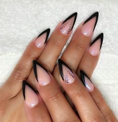 Black French Mountain Peak Nail Idea