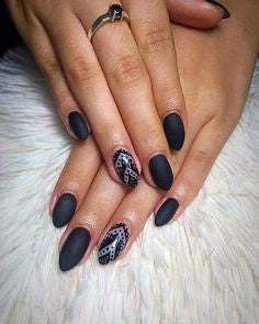 Matte Black Mountain Peak Nail Idea