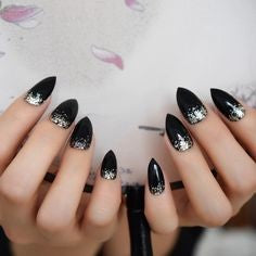 Silver Sequins Mountain Peak Nail Idea