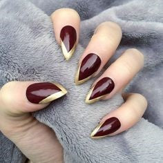 Burgundy Mountain Peak Nail Idea
