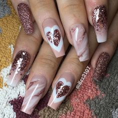 Coffee-like Heart  Valentine Coffin Nail Design