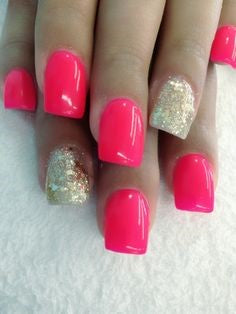 Pink and gold solid color nail art ideas