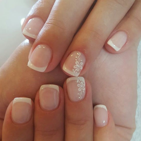 French Manicure with Flower Accent Finger