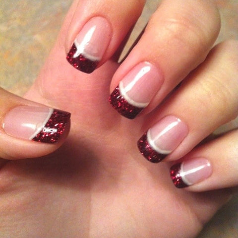 French manicure design with red glitter