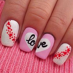 Love word Valentine Nail Design