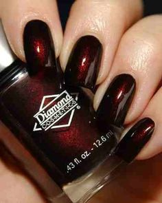 Dark Red Valentine's Nail Art Idea