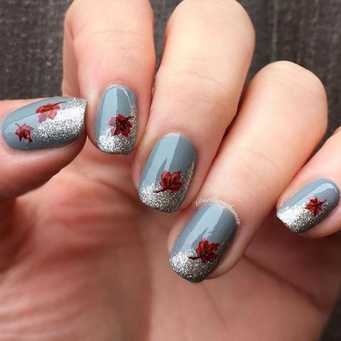Cold Shaded Nails With Bronze Leaves