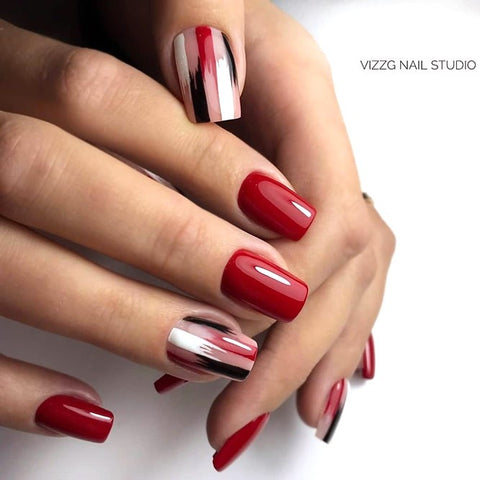 Classic Red Mani With Striped Accent
