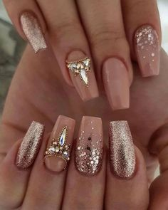 Glitter Nail Art Designs-8 Gold Stickers nails