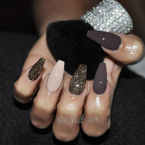 Beautiful Mani With Glitter Accent