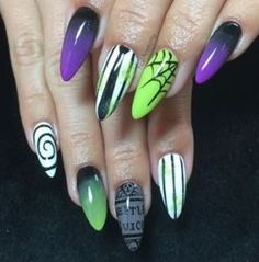 Purple and green nails