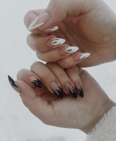 Black and White Flame Nails