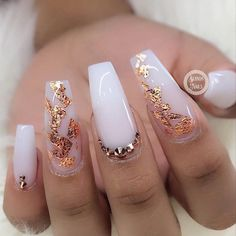 White with golden dragon Nail Design