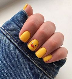 Yellow duckling Square Nail Design