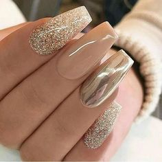 Gold Metallic and white nail design
