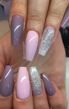 Pink and purple nails