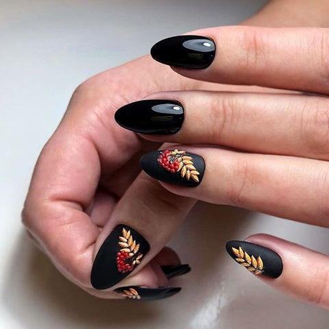Black glitter gel nail designs