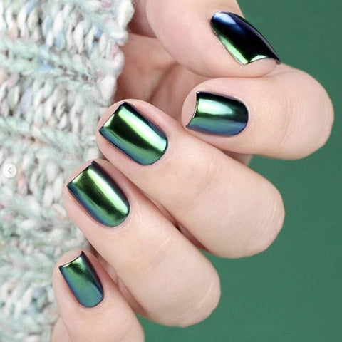 Green Chrome Nail art design