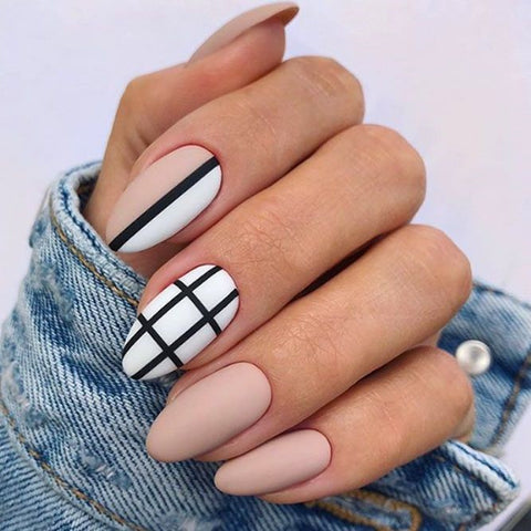 Matte Nude Nails With Black Strip