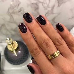 Black Gel Short Nails