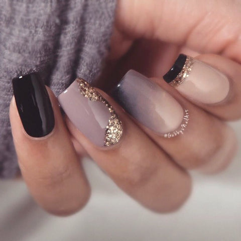 Black Nails With Gold Design