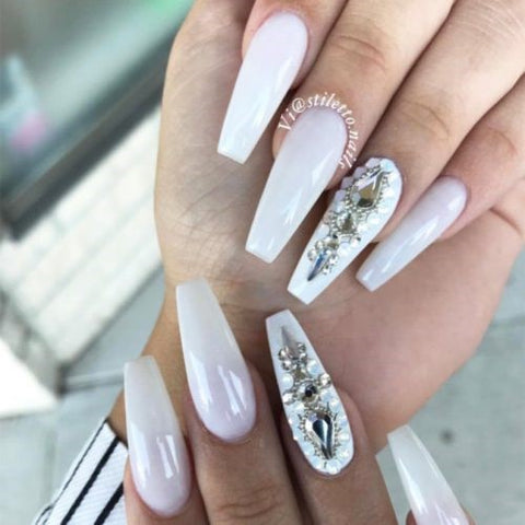 White Coffin Nails With Silver Rhinestones