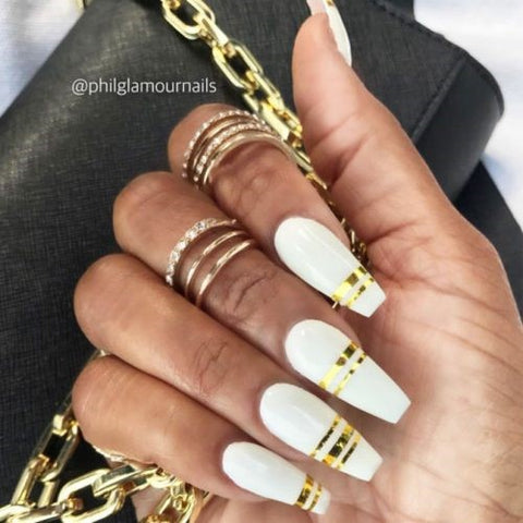 Long White Coffin Nails With Gold Stripes