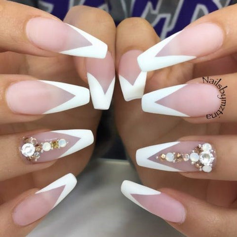 Matte Nails With A White French Manicure Design