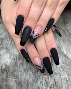 Black Coffin Nail Design