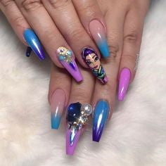 cute holographic nails