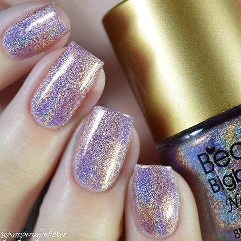 silver holographic nails