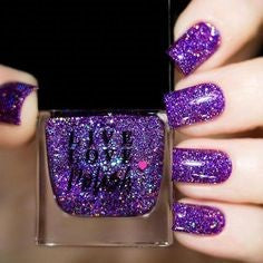 purple holographic nails