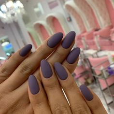 Matte Purple Oval Nail Design