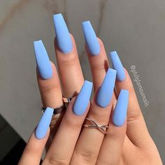 Blue Nail Polish Designs-1 Coffin nails
