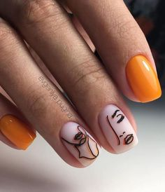Orange Square Nail Design