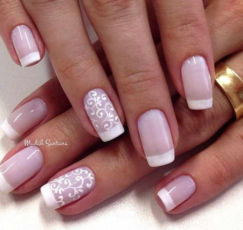 Pink French Tip Nails-White & Light