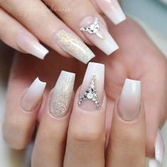White Nails With Rhinestones3