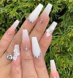 White Nails With Rhinestones4