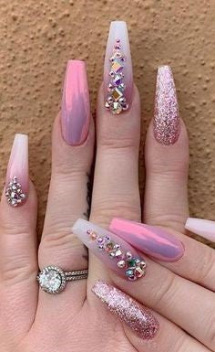 Pink Nails With Rhinestones1