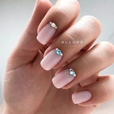 Pink Nails With Rhinestones3