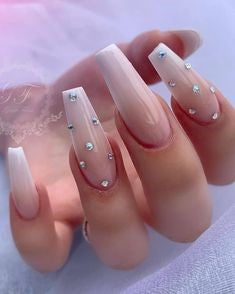 Pink Nails With Rhinestones4