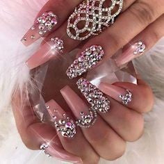 Pink Nails With Rhinestones5