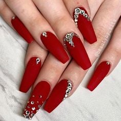 Red Nails With Rhinestones1