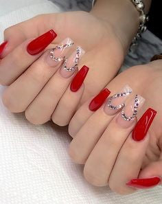 Red Nails With Rhinestones3